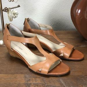 Adrienne Vittadini Tan Leather Wedge Heel Sandals